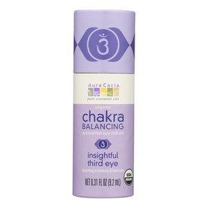 Aura Cacia - Organic Chakra Balancing Aromatherapy Roll-on - Insightful Third Eye - .31 Oz