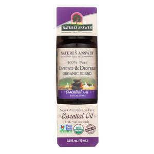Nature's Answer - Organic Essential Oil Blend - Unwind And Destress - 0.5 Oz.