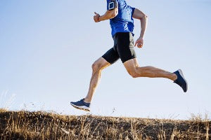 A man running outdoors for his virtual run in Canada