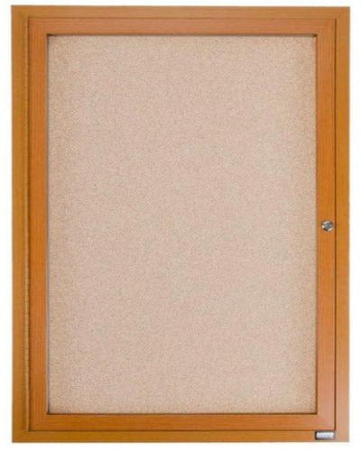 Enclosed Bulletin Board Wood Finish