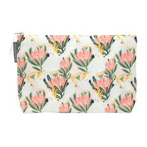 Large Cosmetic Bag - Cockatoo Peach