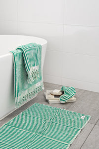 Bath Mat - Green Stripe