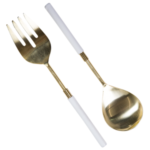 Salad Server Set | White & Matte Gold
