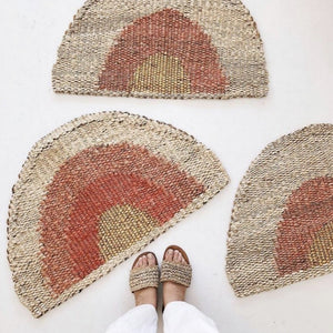 Round Doormat- Gold/Peach/Natural