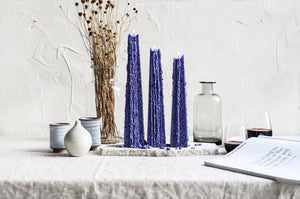 Dark Blue Icicle Candle – Night Bloom