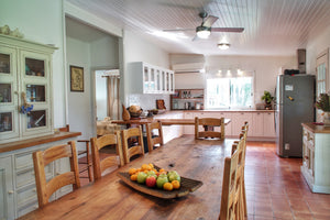 Country kitchen and dining area of accommodation in Broke, Hunter Valley
