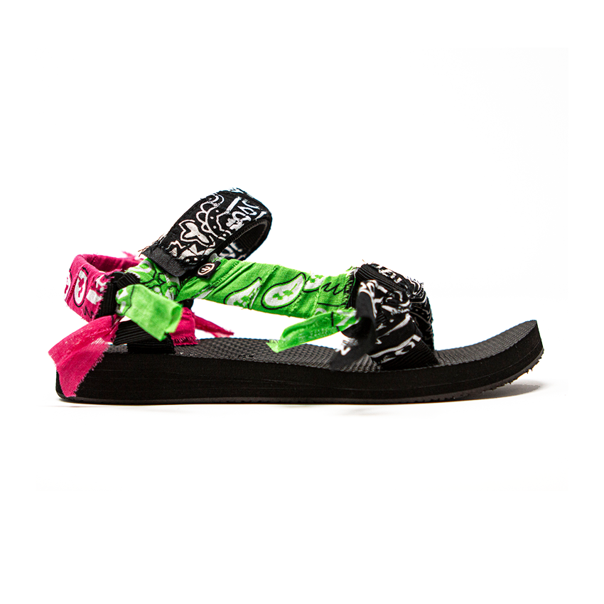 Arizona Love | Trekky Bandana Sandals | Mix Black — Arizona Love's laid-back aesthetic is captured by these free-spirited Trekky sandals. They're hand crafted with bandana-print voile for a rebellious mood and set on a comfortable black rubber sole.