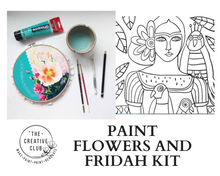Load image into Gallery viewer, PAINT: FRIDAH AND FLOWERS CANVAS KIT
