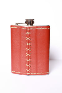 Genuine leather covered flask