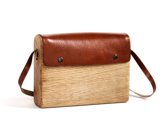 Wood and leather boho bag