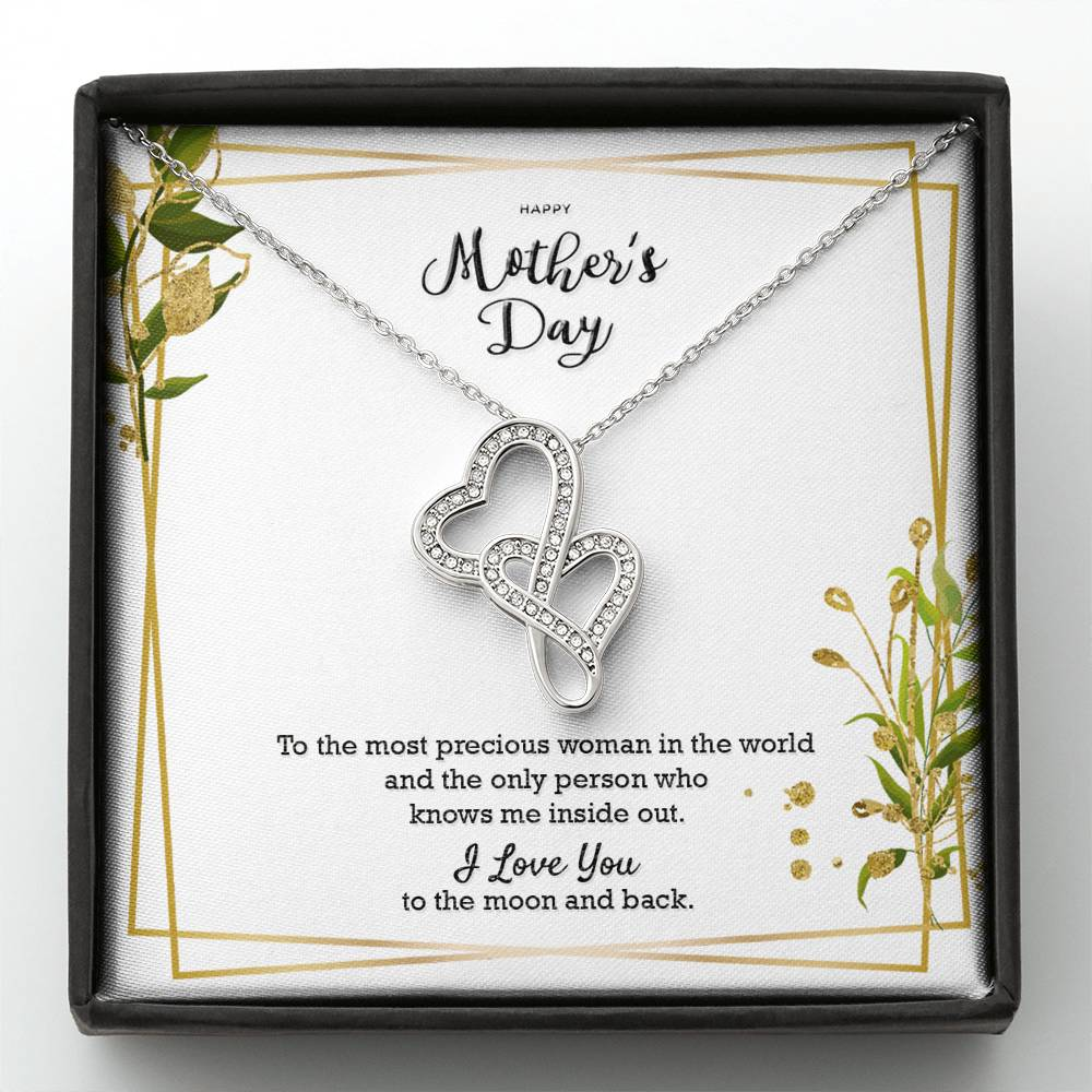 Double Hearts Necklace Gift to Mom