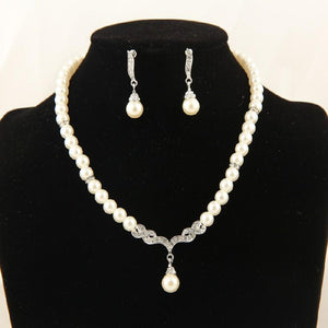 Women Wedding Bridal Dress Accessories Water Crystal Necklace Earrings Set