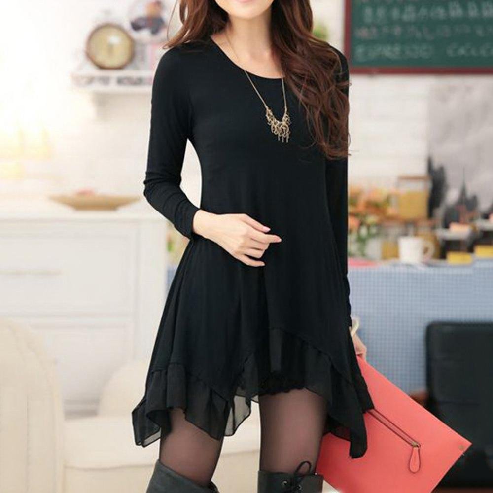 Loose Long Sleeve Scoop Neck Solid Color Women's Dress