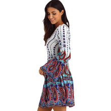 Load image into Gallery viewer, V Neck Print Mini Long Sleeve African Print Skater Dresses
