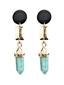 Bohemia Geometric Artificial Turquoise Dangle Earrings