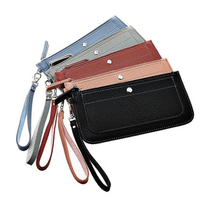 Women Old Litchi Stria Long Wallet