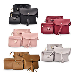 4pcs Elegant Tassel Women Shoulder Crossbody