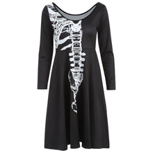 Load image into Gallery viewer, Halloween Skeleton Print A Line Dress