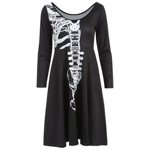 Halloween Skeleton Print A Line Dress