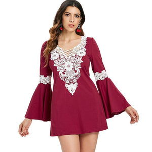 Crochet Front Flare Sleeve Short Dress