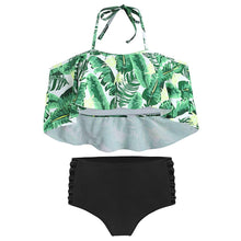 Load image into Gallery viewer, Tropical Print Ladder Cut Out Bikini Set