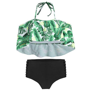 Tropical Print Ladder Cut Out Bikini Set