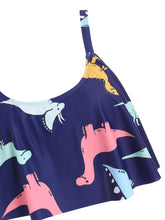 Load image into Gallery viewer, SwimsuitDinosaur Print Ruffle Bikini Set
