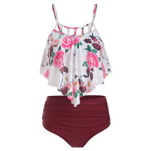 Load image into Gallery viewer, Floral Print Cut Out Overlay Tankini Set Fashionable Design