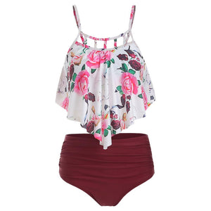 Floral Print Cut Out Overlay Tankini Set Fashionable Design