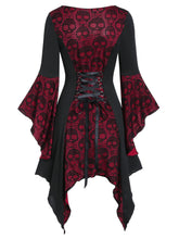 Load image into Gallery viewer, Halloween Skull Lace Insert Poet Sleeve Handkerchief Faux Twinset Dress