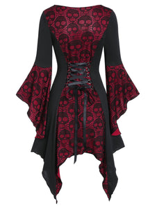 Halloween Skull Lace Insert Poet Sleeve Handkerchief Faux Twinset Dress