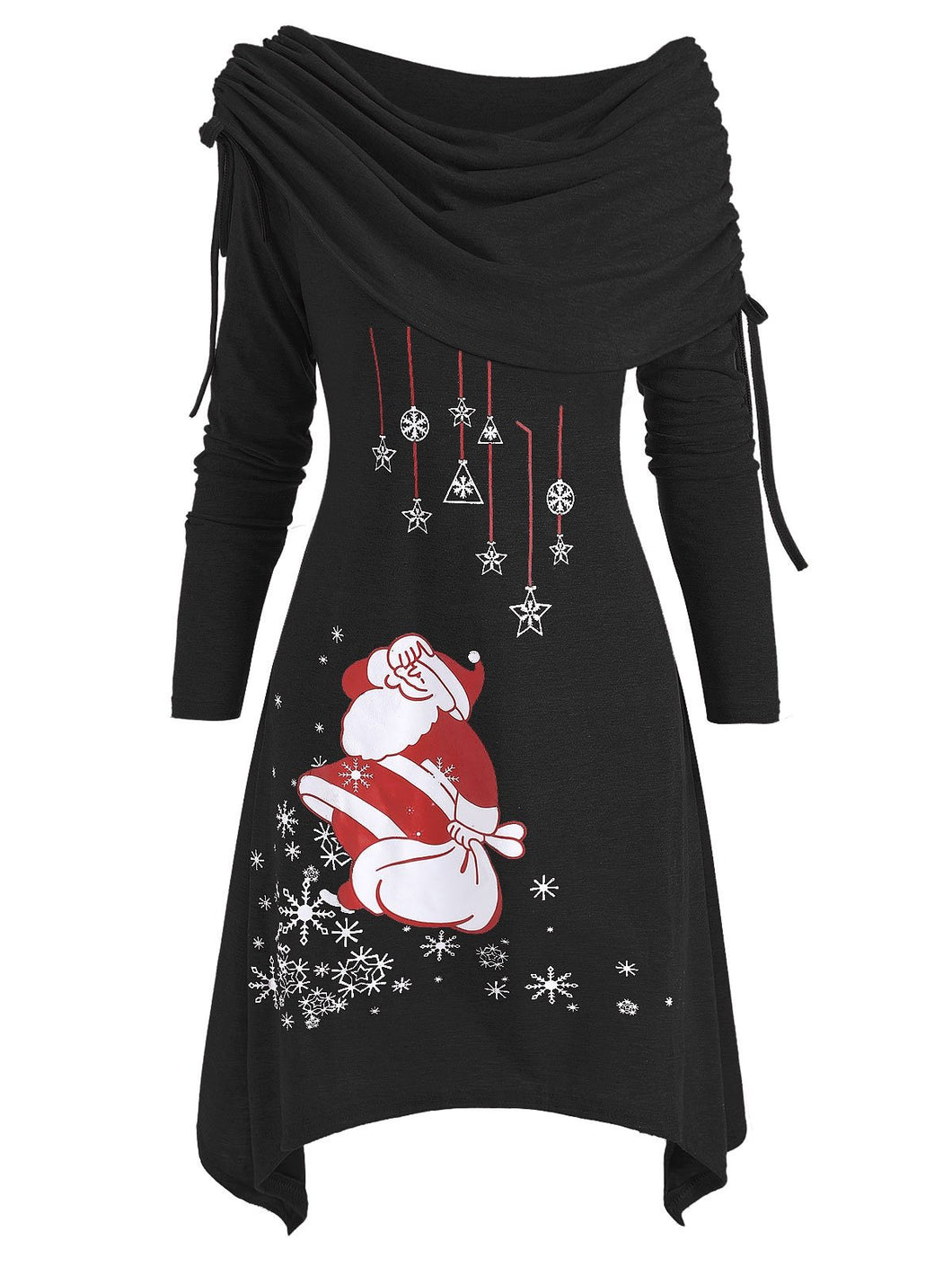 Christmas Santa Claus Cinched Off Shoulder Asymmetrical Dress
