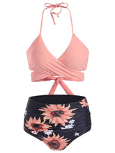 Load image into Gallery viewer, Sunflower Tummy Control Halter Wrap Bikini Swimwear