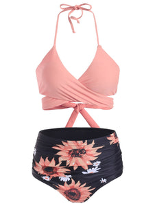 Sunflower Tummy Control Halter Wrap Bikini Swimwear