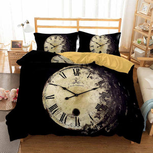 Black Duvet Sets Clock Printed Bedding Sets for Man Bedroom