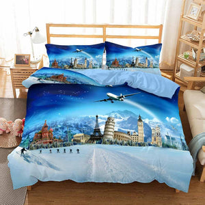 2020 Cartoon Travel Bedding Sets Scenery Blue Comforter for Kids
