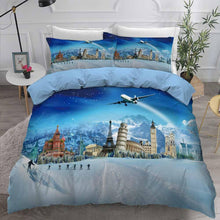 Load image into Gallery viewer, 2020 Cartoon Travel Bedding Sets Scenery Blue Comforter for Kids