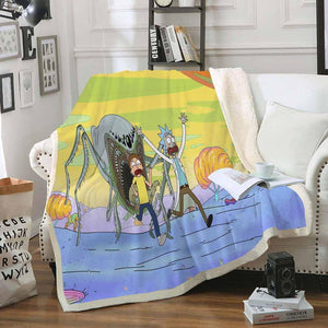 Rick And Moty  Bedding Blanket For Decorate Bedroom