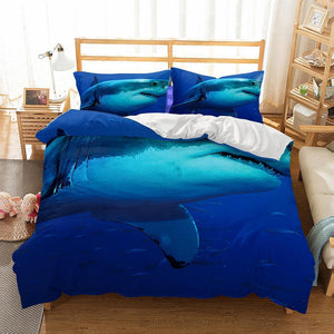 3D Natural Scenery Blue Shark Duvet Cover Set