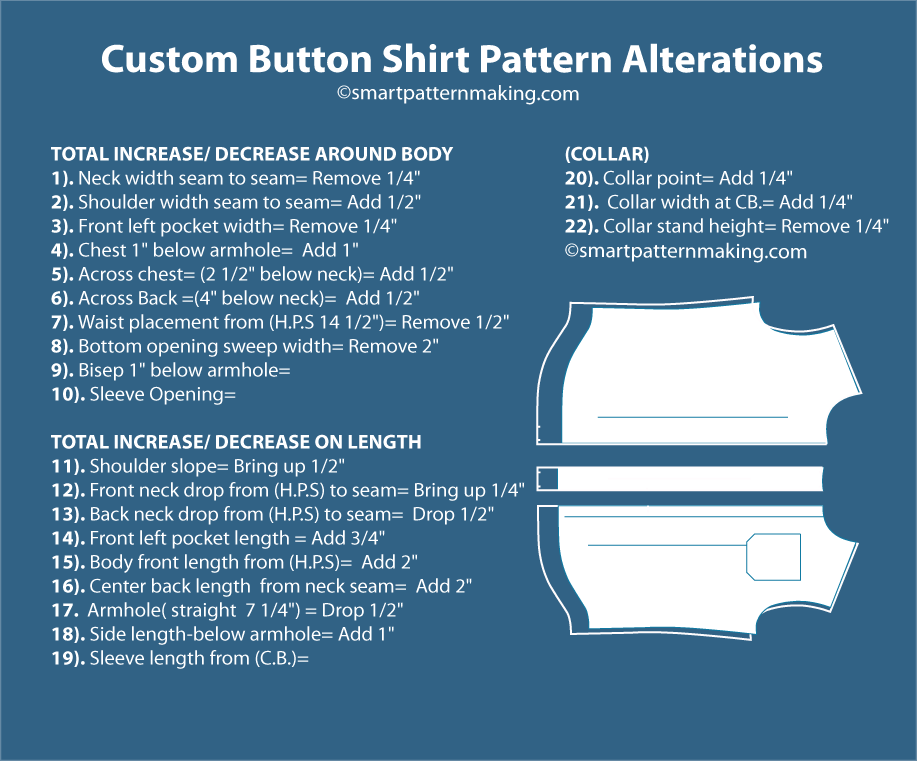 Custom Button Shirt Pattern Alterations info.graphic