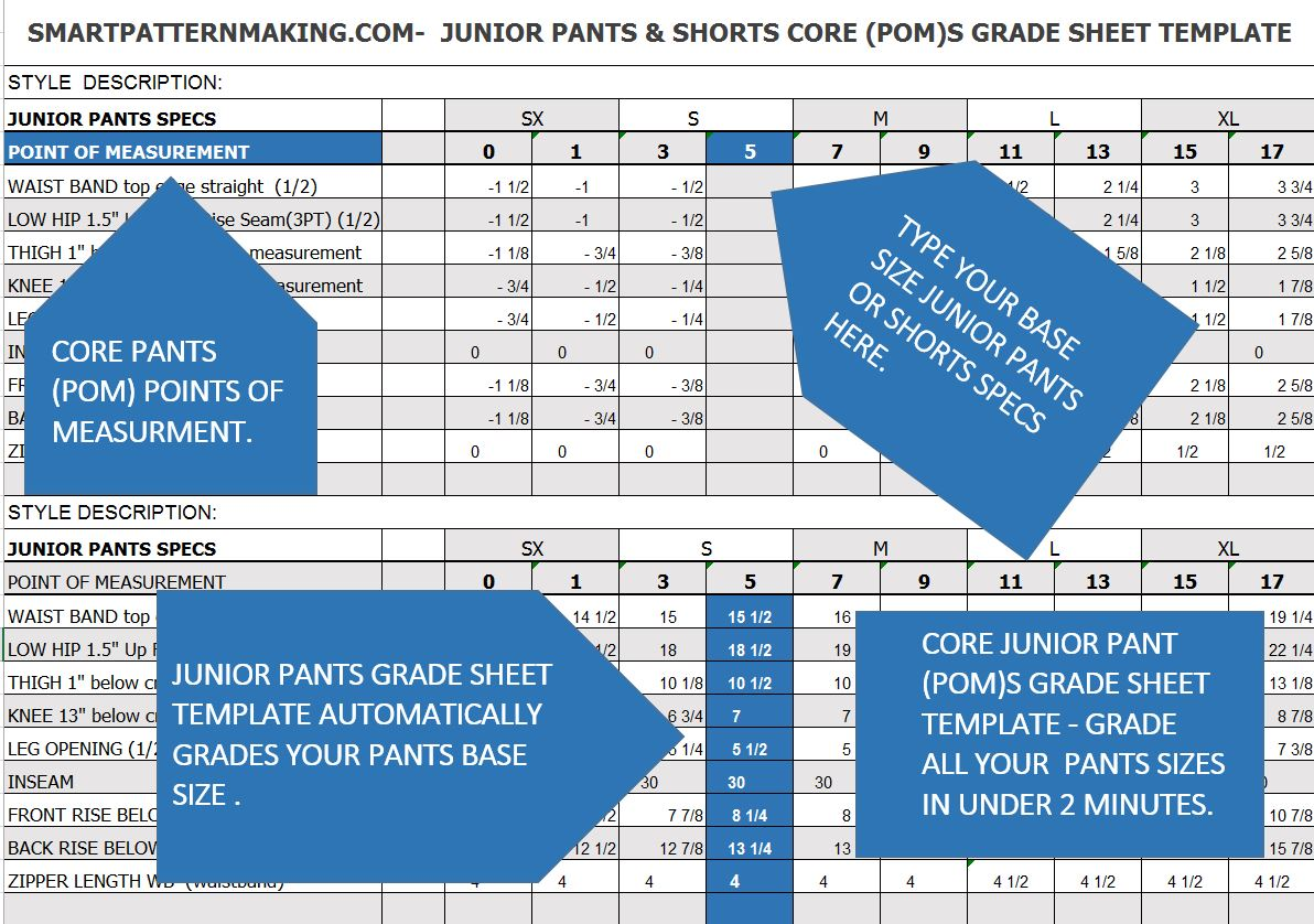 Juniors Pants And Short Grade Sheet Template Download
