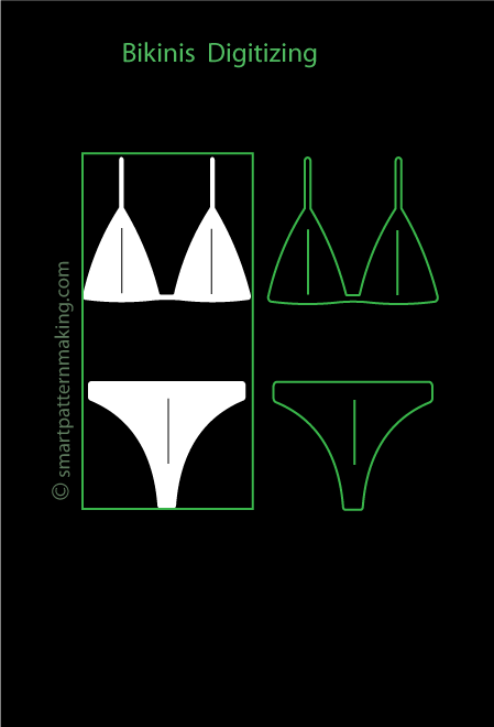 Bikinis And Shapewear Digitizing: Total Pattern Pieces (1-4 )