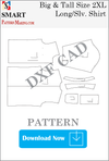 Big and Tall Long Sleeve Shirt Downloadable DXF/CAD Pattern - smart pattern making