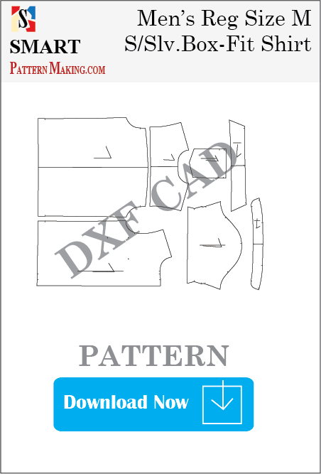Men's Short Sleeve Box Fit Shirt Downloadable DXF/CAD Pattern - smart pattern making
