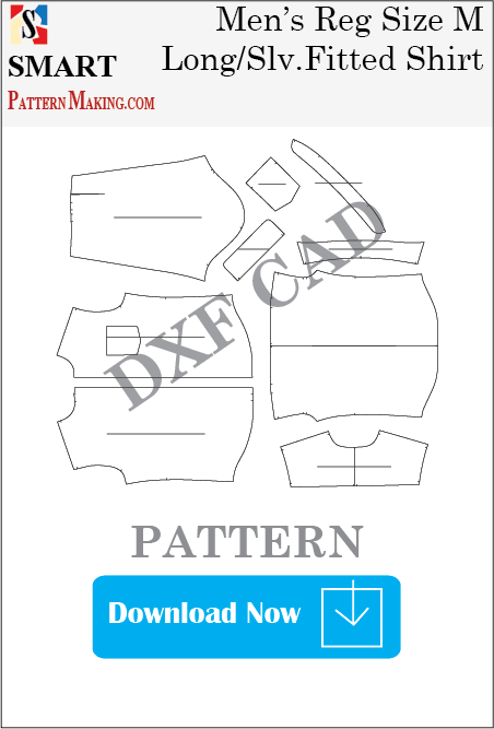Men's Long Sleeve Fitted Shirt Downloadable DXF/CAD Pattern - smart pattern making