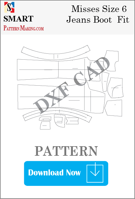 Misses Jeans Boot Fit Downloadable DXF/CAD Pattern - smart pattern making