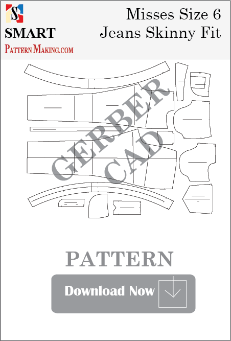 Misses Jeans Skinny Fit Downloadable Gerber/CAD Pattern - smart pattern making