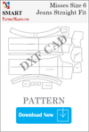 Misses Jeans Straight Fit Downloadable DXF/CAD Pattern - smart pattern making