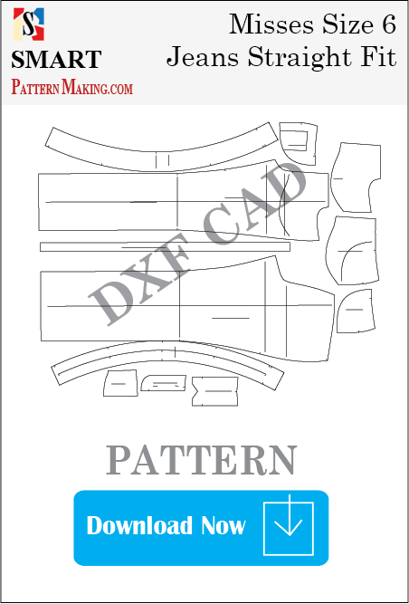 Misses Jeans Straight Fit Downloadable DXF/CAD Pattern