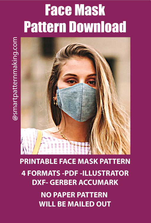 Face Mask PDF Pattern Download, Men/Women Mundschutz, 4 Sizes Schutzmaske, Mascherina, + 4 Formats Tapa Bocas, Combo Digital Pattern Download. - smart pattern making